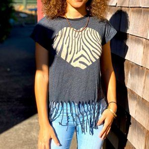 Wildfox gray Cropped fringed tee